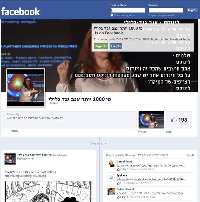 דף הפייסבוק המשמיץ את גנד גלילי